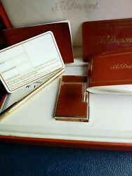 Rare Edition St Dupont Ligne 2 Lighter And Pen Duo Set, Collector Reduced