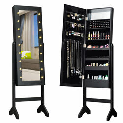 Free Standing Mirrored Jewelry Cabinet Armoire Organizer w 18 LED lights Black