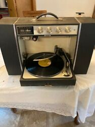 Vintage Rca Victor Portable Stereo Phonograph W/ Det. Speakers Mic. 4vc82