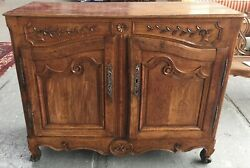 Antique French Provincial Sideboard Buffet Carved Oak