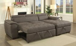 Ash Brown Faux Nubuck Fabric Tufted Seat Sectional Sofa Chaise Living Room Couch