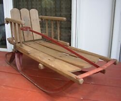 Vintage Wood Children's Snow Sled W/ Backrest Old Country Farm Home Decor