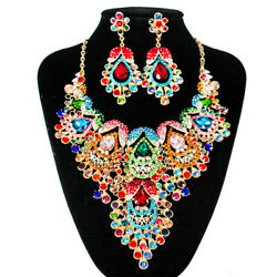 Vintage Statement Crystal Necklace Earrings Bridal Jewelry Sets Wedding Party