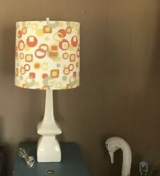 Vintage Robert Abbey Lamp And Retro Geometric Abstract Shade Hollywood Regency