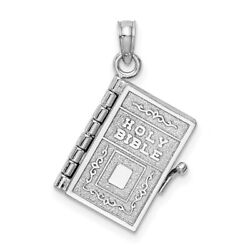 14k White Gold 3-d Holy Bible W/ Lord's Prayer Moveable Charm, 4.2g