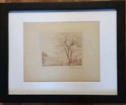 """Claude Monet Original Etching """"paysage A Antibes"""" Hand Signed 50 In Edition"""