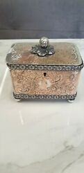 Antique Regency Period Silver Plate On Copper Ornate 2 Section Tea Caddy