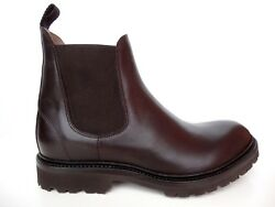 Cq Made To Order Italy Shoes Boots Beatle Leather Rubber Sole Brown 10-26 40-56