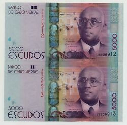 Cape Verde Cabo 2 X 5000 Escudos 2014 Pick 75 Unc Running Numbers