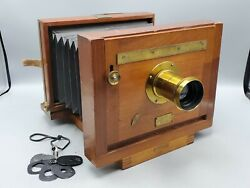 Antique E. And H.t. Anthony 5x8 Wood View Camera W/ Brass R And J Beck 9 Inch Lens