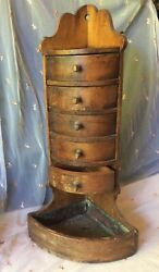 Handcrafted Small Wood Cabinet Apothecary 5 Small Drawers Corner Kitchen Decor