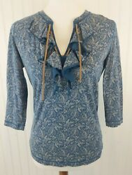 Lrl Leather Lace Up Knit Top Blue Floral Ruffle Prairie Western M