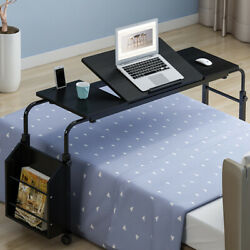 Home Rolling Adjustable Laptop With Wheel Computer Table Overbed Desk Book Shelf