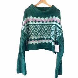 Free People Spearmint Pine Combo Cropped Sweater L