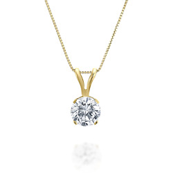 3/8ct Tw Diamond Solitaire Pendant In 14k Yellow Gold H-i I2-i3 18 Inches