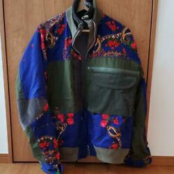 Sacai Size L Blue Floral Embroidered X Army Green Corduroy Jacket Never Used