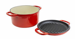 Lodge 7 Quart Red Enameled Cast Iron Double Dutch Oven With Grill Lid