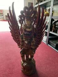 Vintage Hand Crafted Wooden Asian Warrior Sculpture 39.5andrdquo Tall