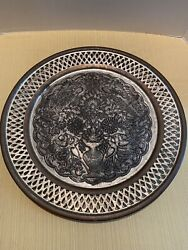 Vintage Antique Etched Silver Tone And Copper Middle East Persian Tray Birds 15