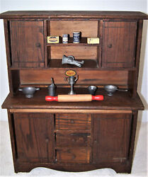 Rareantiquecass Toys1920and039swoodenkitchen Cabinetcupboardw/ Pull Out Board