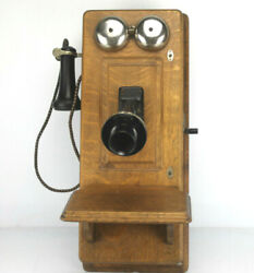 Antique Western Electric Tiger Oak Wall Mount Hand Crank Telephone - Decor Only