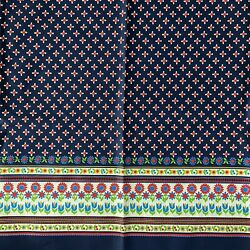 Vintage Border Print Fabric Floral Red Navy Blue Pattern 2 Yards Heavy Cotton