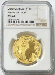 2020 P Gold 100 Australia 1 Oz Lunar Year Of The Mouse Coin Ngc Mint State 69