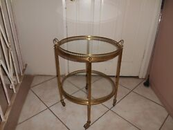 Art Deco Mcm Brass And Glass Butler Table With Wheels And Removable Serving Tray