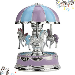 Belone carousel Horse Music Box With Led Lights, Musical Merry-go-round Unicorn