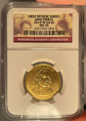 2009-w 10 Ngc Ms 70 Jane Pierce Gold First Spouse Coin 1/2 Ounce
