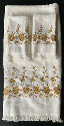 Vintage Dundee Cotton White Embroidered Gold Roses 1 Bath Towel And 2 Washcloths