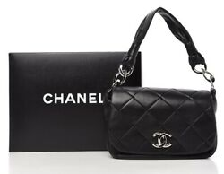 Black Lambskin Quilted Cc Flap Bag W/ Box And Authenticity Card