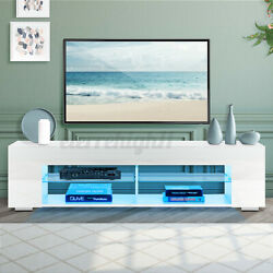 57'' High Gloss Tv Stand With 4 Led Shelve Cabinet Entertainment Center Console