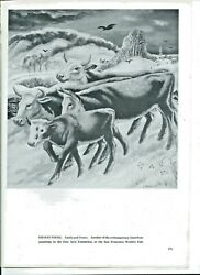 Ernest Fiene Cattle And Crows 1938 Magazine Signed Print 11.5 X 8