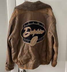 Vintage Carl Banks G Iii Miami Dolphins Brown Leather Jacket Sports Rare Large