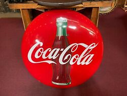 1950and039s Coca-cola Coke Bottle 36 Porcelain Button Sign Watch Video