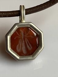 Slane And Slane Sterling Silver Bee Pendant Leather Necklace Rare