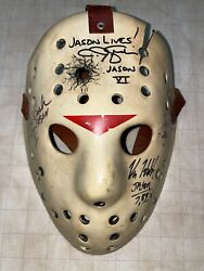 Jason Voorhees Friday The 13th Autographed Custom Hockey Mask By 4 Rare Dash