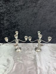 Lot Of 2 Duchin Creations Sterling Weighted Candelabras - 5 Arm