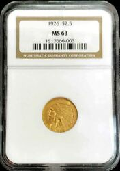 1926 Gold United States 2.5 Indian Head Quarter Eagle Coin Ngc Mint State 63