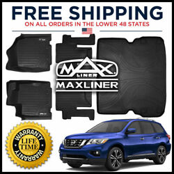 Maxliner 1st 2nd And Cargo Behind 2nd Row Mats Black For 2013-2020 Pathfinder