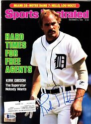 Kirk Gibson Signed Tigers Autographed Sports Illustrated Magazine + Beckett Coa