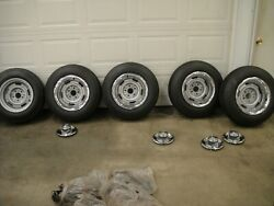 1969-72 Corvette F70x15 Goodyear Black Wall Tires With Rims And Caps Original