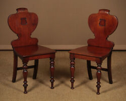 Pair Of Antique Mahogany Hall Chairs C.1840