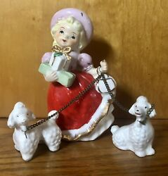 🎄vintage Christmas Shopper Girl Pink Red Poodles Chain Gifts Japan Figurine