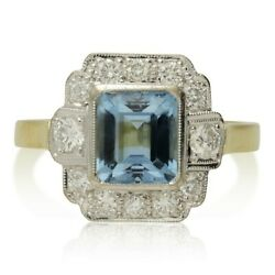 Vintage 18ct Gold Aquamarine And Diamond Cluster Ring - 1999 Rrp Andpound3250