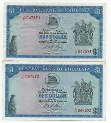 Rhodesia 2 X 1 Dollar March 1973 Consecutive Numbers Pick 30 B Look Scans