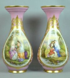 Large Pair Antique 19th Century Hand Painted Continental Porcelain Vases 19andrdquo