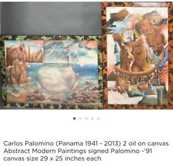 """2 Carlos Palomino Surreal Oil Paintings On Canvas 29 X 25"""" 1991"""