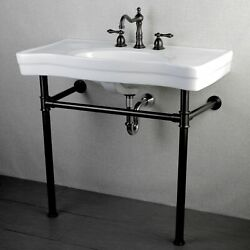Imperial Vintage 36-inch Oil Rubbed Bronze Pedestal Bathroom White